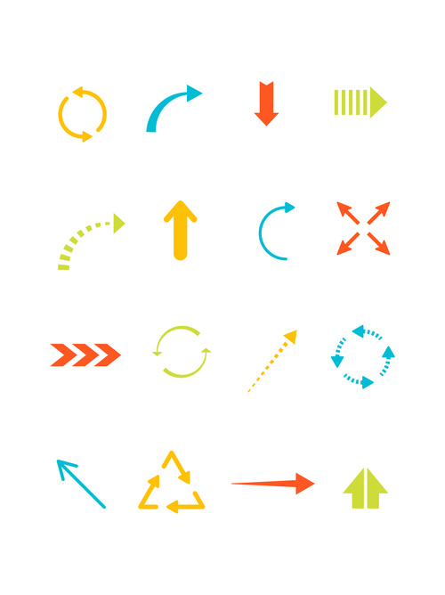 Simple colorful arrow icon vector