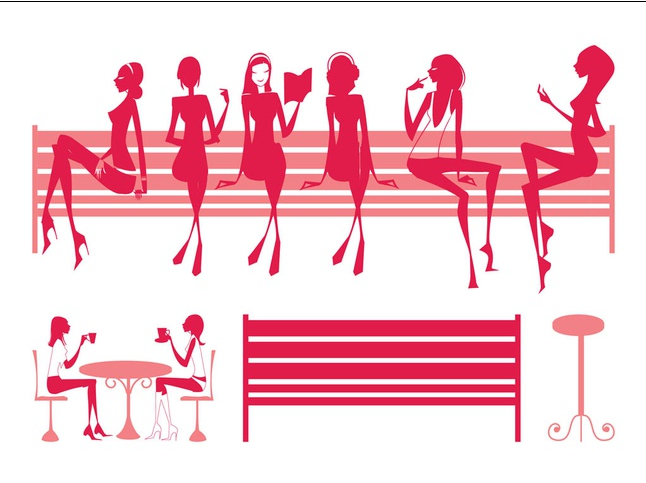 Sitting Girls Silhouettes Illustration vector