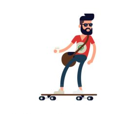 Skateboard IT male vector