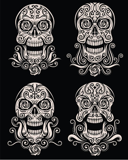 Skulls Creative Tattoo vector