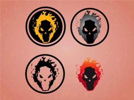 Skulls On Fire design vectors