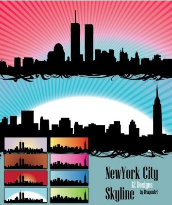 Skyline US NewYork City set vector