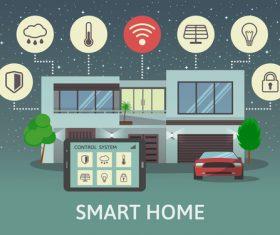 Smart home business template design vectors 06