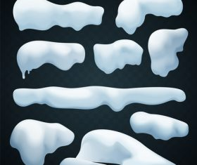 Snowdrift with icicle vector illustration 03