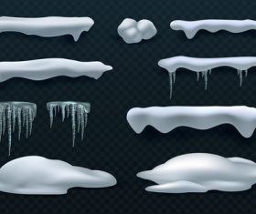 Snowdrift with icicle vector illustration 08
