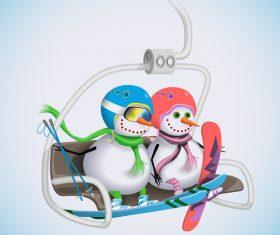 Snowman with cable car vectors
