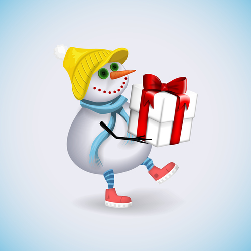 Snowman with christmas gift boxs vectors