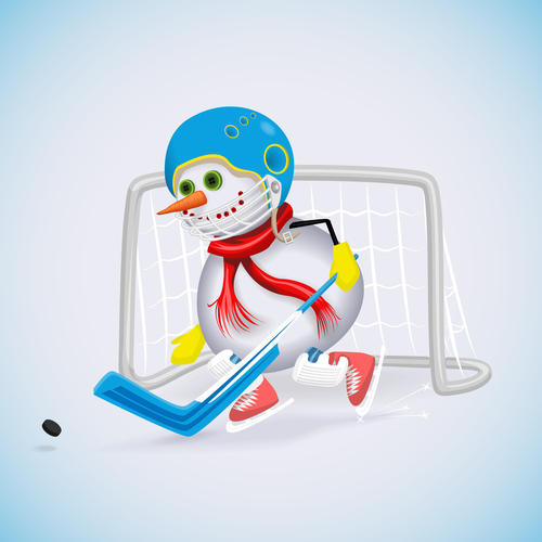 Snowman with ice hockey vectors 02