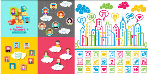 Social Backgrounds 3 vector