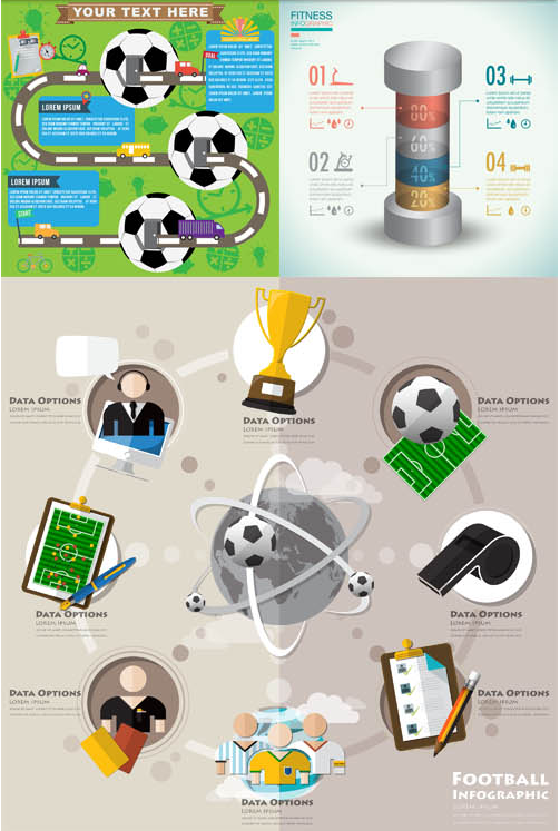 Sport Infographics Backgrounds vector set