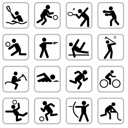 Sports icons free vector design