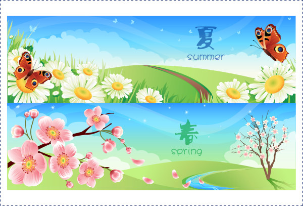 Spring and Summer banner vector