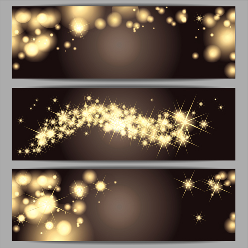 Star christmas banner 3 set vector