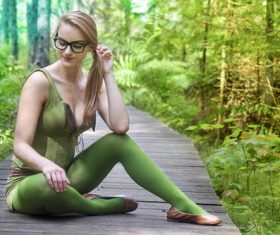 Stock Photo Woman who blends with green