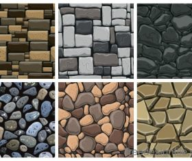 Stone wall textured background vectors set 05