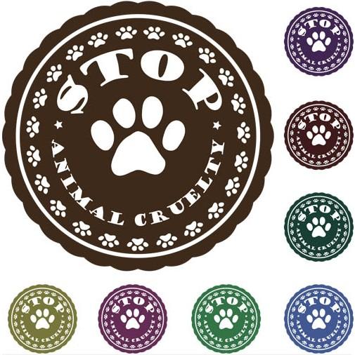 Stop Animals Labels design vectors