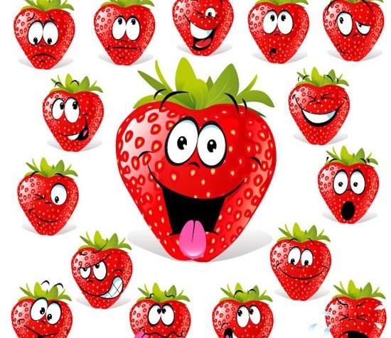 Strawberry facial cartoon Illustration vector
