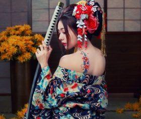 Stunning Japanese kimono geisha Stock Photo