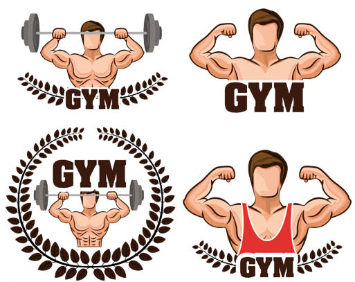 Stylish GYM Logotypes vector
