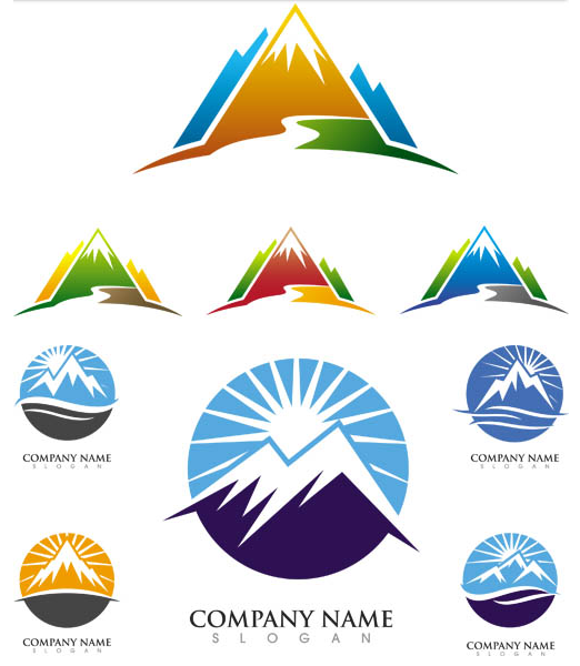 Stylish Mountains Logo 5 design vector