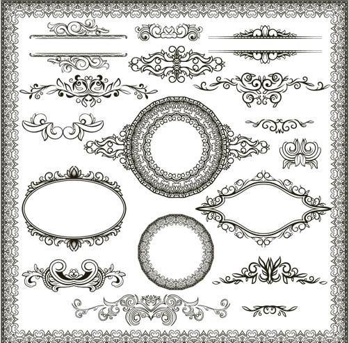 Stylish Vintage Frames 19 set vector