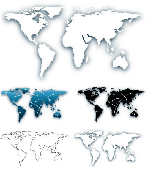 Stylish World Maps graphic vector