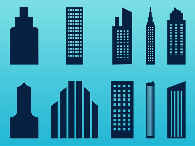 Stylized Skyscrapers Set vector
