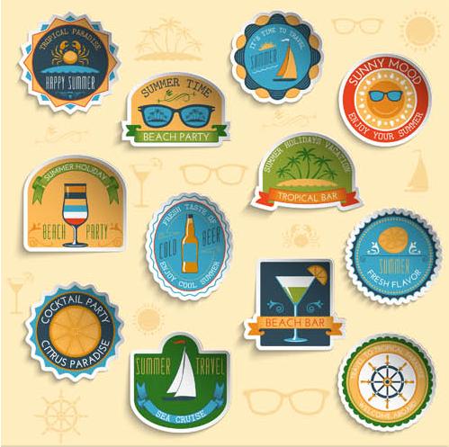 Summer Different Labels 2 design vectors