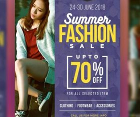 Summer Fashion Sale Poster PSD Template