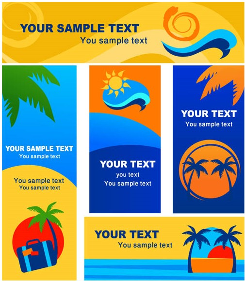Summer Style Stickers vectors material