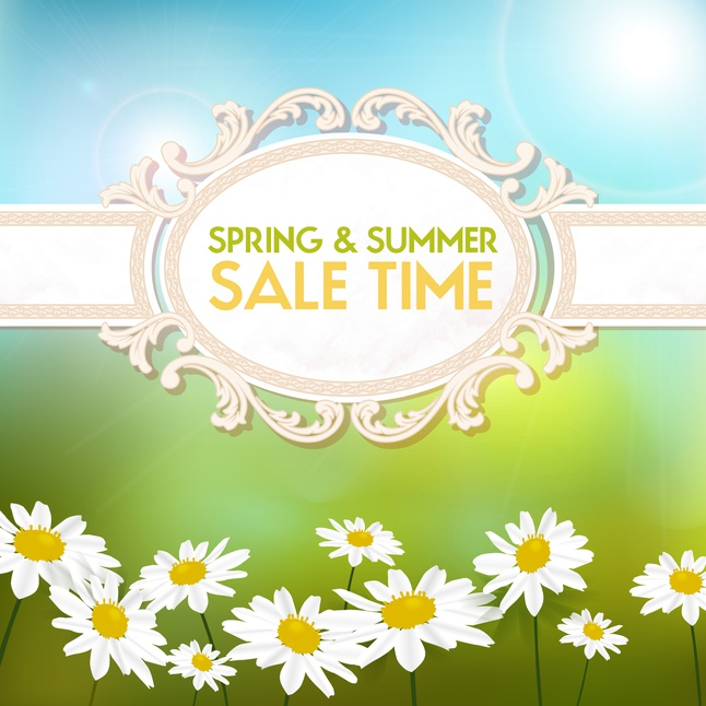 Summer and spring sale background set vector