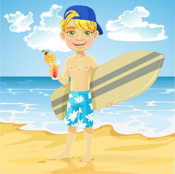 Summer beach travel 4 set vectors