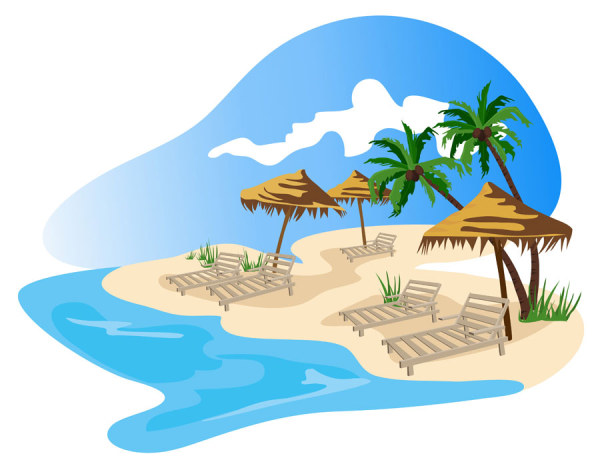 Summer beach with holiday 1 vector