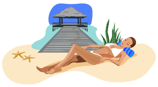 Summer beach with holiday 2 vector