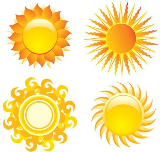 Sun graphic set vector
