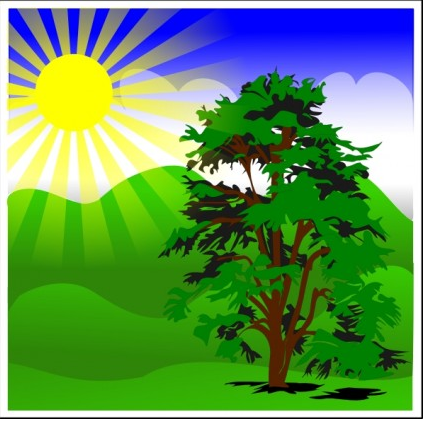 Sunny Spring With Blue Sky clip art vector