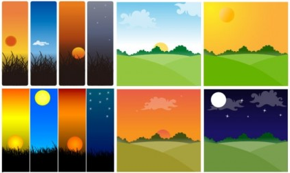 Sunset theme vectors graphic