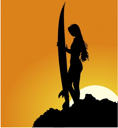 Surfer Silhouette free vector material
