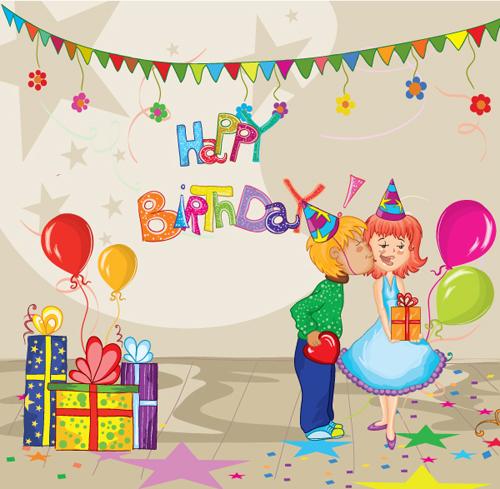 Sweet birthday cards vector