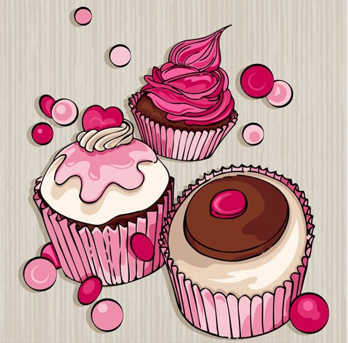 Sweets Backgrounds 3 vectors graphics