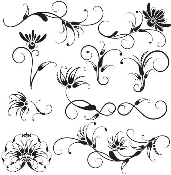Swirl Floral Ornaments vector