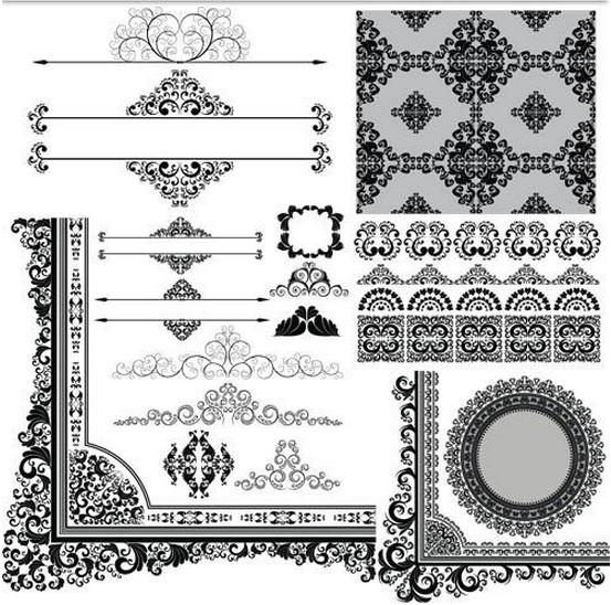 Swirl Ornament Elements vectors material