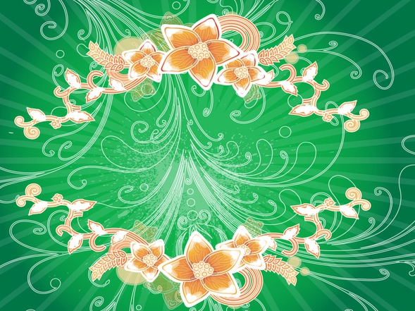 Swirls And Flowers Background set vector