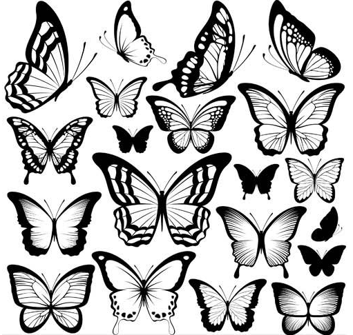 Tattoo with Butterflies vector graphics