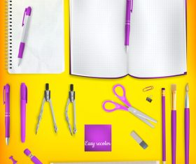 Teaching equipment with colored backgrounds vector 02