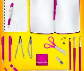 Teaching equipment with colored backgrounds vector 04