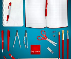 Teaching equipment with colored backgrounds vector 05