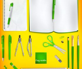 Teaching equipment with colored backgrounds vector 07