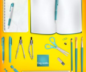 Teaching equipment with colored backgrounds vector 08