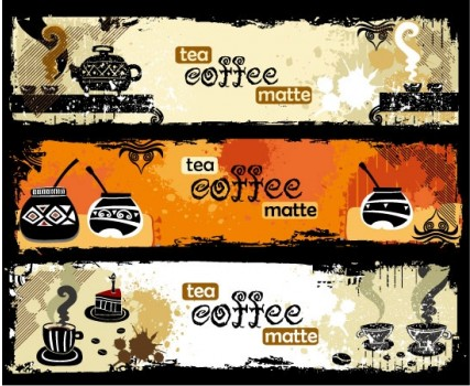 Teand coffee theme banner vector set